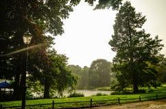 Parque com um lago bonito sob a chuva pesada em Berlim central, Alemanha fotografia de stock