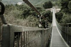 Parque con el puente con bisagras. Israel Fotos de archivo
