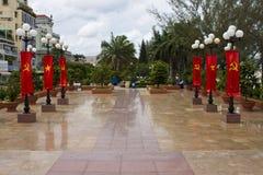 Parque con las banderas de Vietmese Fotografía de archivo libre de regalías
