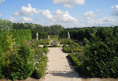 Parque con los árboles y las flores Fotografía de archivo