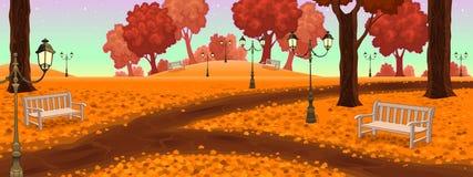 Parque con los bancos y las lámparas de calle stock de ilustración