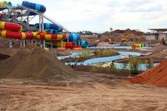Parque da água do terreno de construção Fotos de Stock Royalty Free
