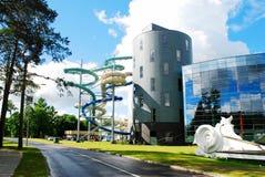 Parque da atração da água na cidade dos termas de Druskininkai imagem de stock royalty free