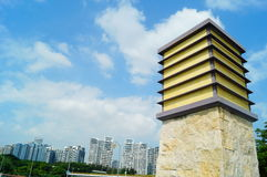 Parque da baía de Shenzhen da arquitetura paisagística Imagens de Stock
