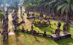 Parque da Buda em Vientiane, Laos Marco famoso do turista do curso imagens de stock