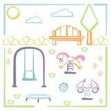 Parque da cidade com campo de jogos das crianças Fotos de Stock Royalty Free