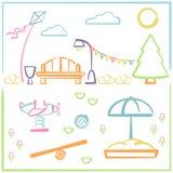 Parque da cidade com campo de jogos das crianças Imagem de Stock Royalty Free