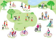 Parque da cidade com povos e famílias ilustração royalty free