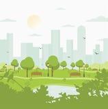 Parque da cidade contra prédios ajardine com árvores, arbustos, lago, pássaros, lanternas e bancos Vetor colorido ilustração royalty free