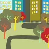 Parque da cidade do outono Ilustração do Vetor