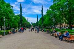 Parque da esplanada em Helsínquia Foto de Stock