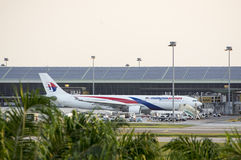 Parque da linha aérea de Malásia no terminal de KLIA Imagem de Stock Royalty Free