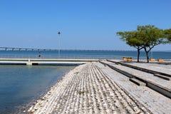 Parque das nações footpath and Vasco da Gama bridge. Lisbon Royalty Free Stock Photos