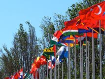 Parque Das Nacoes Or Park Of Nations Lisbon POrtugal. Flags waving in breeze at the Parque das Nacoes or Park of Nations in Lisbon Portugal royalty free stock image