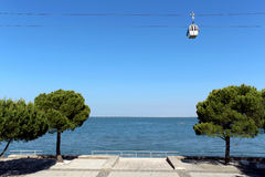 Parque das Nações (place of Expo 98) cablecar. Lisbon, Portugal. Stock Image