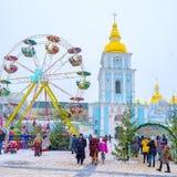 Parque de Anusement de la Navidad en St Michael Square Fotos de archivo