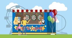 Parque de atracciones con la cabina de los dardos y carruseles en el fondo stock de ilustración