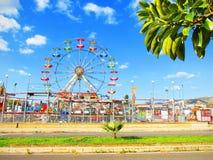 Parque de atracciones con una rama de árbol de los ficus en el primero plano Foto de archivo libre de regalías