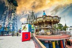 Parque de atracciones en Barcelona foto de archivo libre de regalías