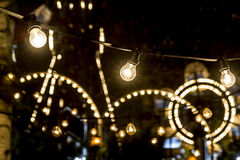 Parque de atracciones en la noche Fotografía de archivo libre de regalías