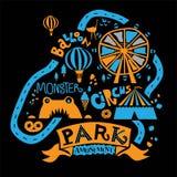 Parque de atracciones para la familia entera, las atracciones y las trayectorias que caminan, la charca, y el helado, café, noria ilustración del vector