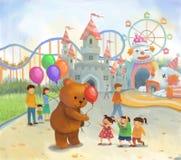 Parque de atracciones para los niños en color en colores pastel en estilo de la lona ilustración del vector