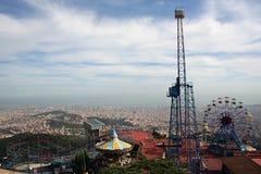 Parque de atracciones, soporte Tibidabo, Barcelona España Imagen de archivo