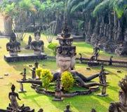 Parque de Buda en Vientián, Laos Señal famosa del turista del viaje imagen de archivo