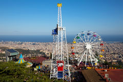 Parque de diversões de Ibidabo em Barcelona, Espanha Fotos de Stock