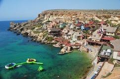 Parque de diversões de Sweethaven na baía da âncora, Malta imagem de stock royalty free