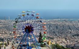 Parque de diversões de Tibidabo - Barcelona, Espanha Fotografia de Stock