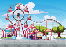 Parque de diversões do vetor dos desenhos animados com camadas separadas para o jogo e a animação ilustração do vetor