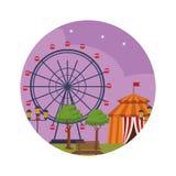 Parque de diversões na noite ilustração royalty free