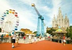 Parque de diversões e templo em Tibidabo Foto de Stock Royalty Free