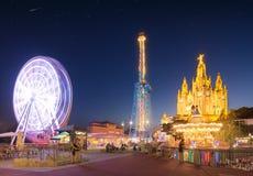 Parque de diversões e templo em Tibidabo Fotografia de Stock Royalty Free