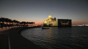 Parque de Doha en la puesta del sol almacen de metraje de vídeo