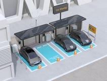 Parque de estacionamento da partilha de carro equipado com os painéis solares, as estações de carregamento e as baterias imagens de stock royalty free