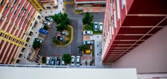 Parque de estacionamento de cima de imagens de stock