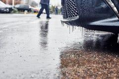 Parque de estacionamento do inverno fotografia de stock