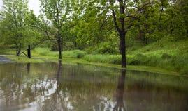 Parque de estacionamento inundado fotografia de stock royalty free