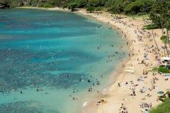 Parque de estado de la bahía de Hanauma - Oahu Hawaii - ocupado, playa apretada con los turistas fotografía de archivo libre de regalías