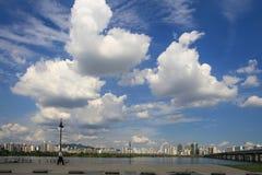 Parque de Hangang em Yeouido em Seoul, Coreia do Sul imagens de stock