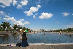 Parque de Hangang em Yeouido em Seoul, Coreia do Sul fotografia de stock royalty free