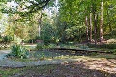 Parque de Kupelny en el balneario Sklene Teplice, Eslovaquia Imagen de archivo