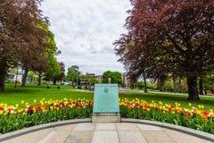Parque de la academia al lado del edificio del capitolio en Albany, Nueva York Imagenes de archivo