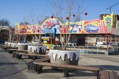 Parque de la atracción de la ciudad durante celebraciones del Año Nuevo Foto de archivo