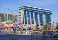 Parque de la atracción durante celebraciones del Año Nuevo Imagen de archivo libre de regalías