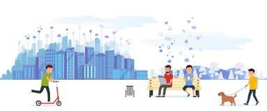 Parque de la ciudad con la diversa gente que tiene en actividades al aire libre del ocio, conduciendo en una vespa, el caminar de stock de ilustración