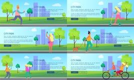 Parque de la ciudad con la gente que gasta sus carteles del tiempo ilustración del vector
