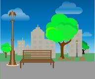 Parque de la ciudad con los ?rboles y los bancos Fondo verde Vector ilustración del vector